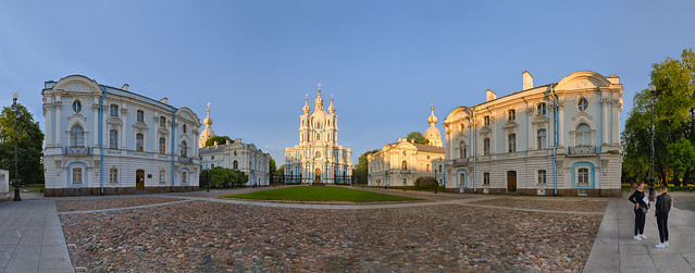 Smolny cathedral panorama under sunset light.