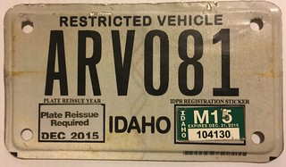 IDAHO 2015---ARV---ALL TERRAIN VEHICLE PLATE | by woody1778a