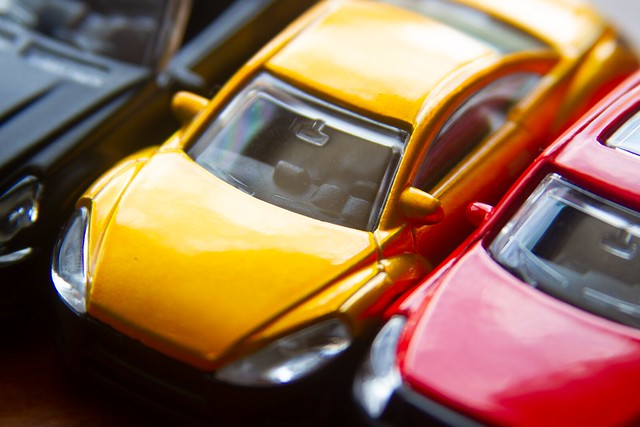 Three colorful cars