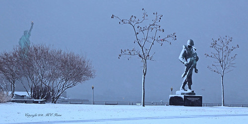 Liberty State Park's Southern End DAWN Scene (#4) After Snow and Ice Storm— Jersey City New Jersey