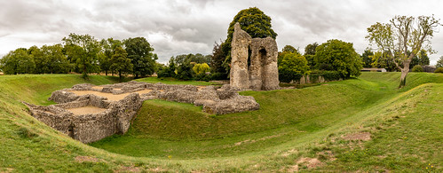 ludgershall castle andover wiltshire ruins remains building architecture ancient historic royal english heritage earthwork stonework grass tree ditch fort fortification panorama photomerge landscape sky