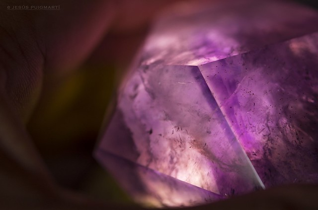 Backlit amethyst crystal