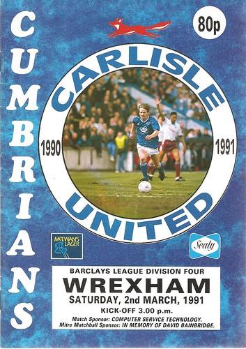 Carlisle United V Wrexham 2-3-1991 | by cumbriangroundhopper