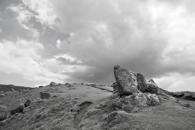 Clifftop path, Carn Kez, Land's End, near Penzance, Cornwall, UK