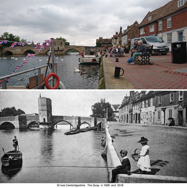 St Ives Cambridgeshire England. The Quay in 2018 and 1896