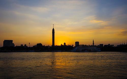 sundown nilo river rio egito torre