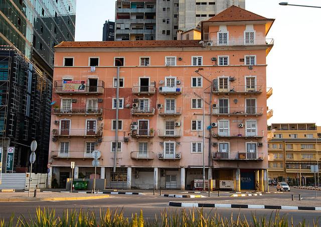 Old portuguese colonial building on the Marginal promenade called avenida 4 de fevereiro, Luanda Province, Luanda, Angola