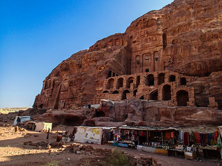 Old structure and modern stalls in Petra | by Masa Sakano