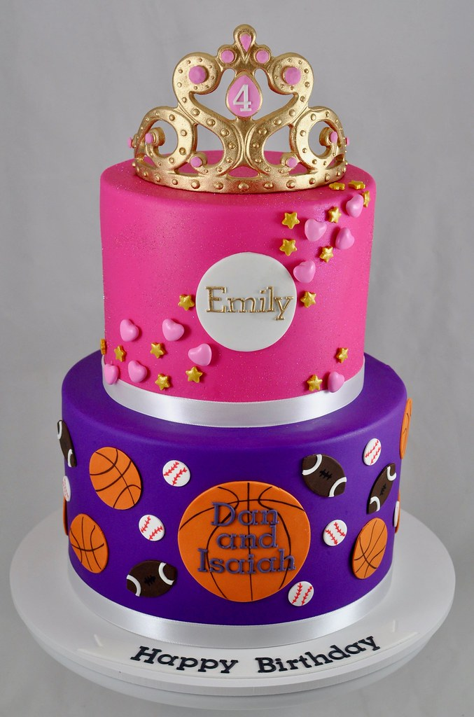 Enjoyable Sports And Princess Themed Birthday Cake Duel Theme Birthd Flickr Personalised Birthday Cards Veneteletsinfo