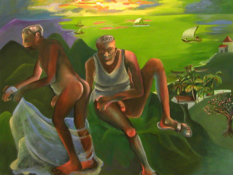 Couple. Modern Indian Art.   Bhupen Khakhar: Couple at the s…   Flickr
