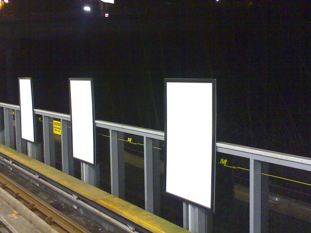 3 Blank Ads at Commercial Drive SkyTrain Station