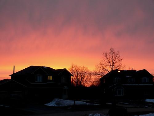 red sunrise fire