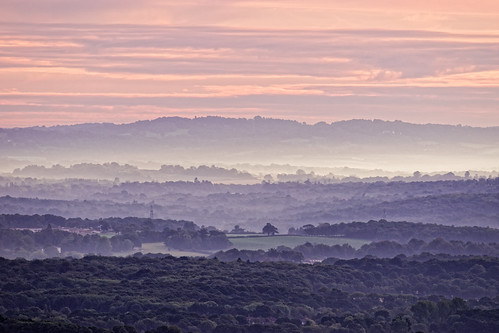 dawn morning sunrise daybreak mist fog trees hills sky clouds telephoto distance view vista ghe