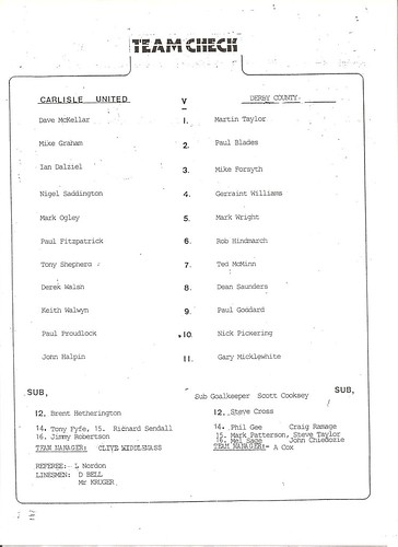 Carlisle V Derby 5-8-89 | by cumbriangroundhopper