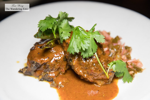 Pork cheeks, vindalho eurasian acha, charred scallion (Goa/Malacca)