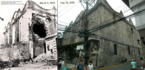 San Agustin Church, before and after, March 4, 1945 - Aug. 18, 2018