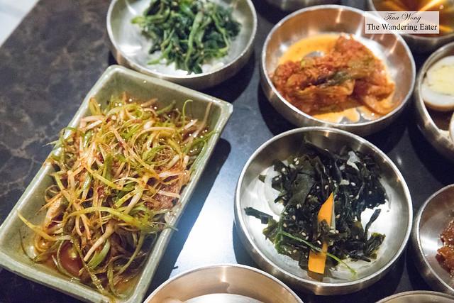 Banchan spread before Korean barbecue