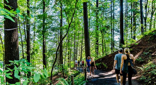 Hiking Path up to the Portland Japanese Garden, Portland OR USA-7a