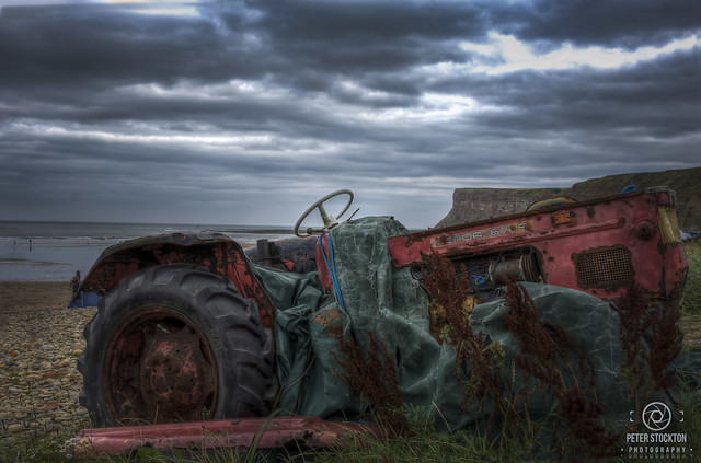 tractor on the beach yorkshire
