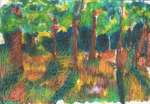 oil printmaking print trees landscape monotype