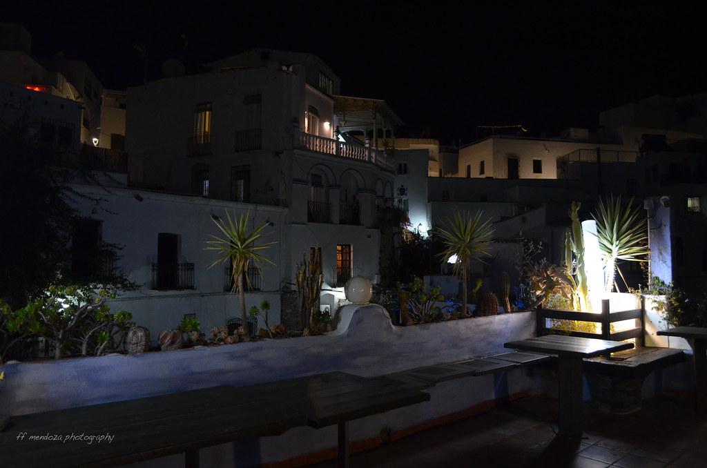 Vista De Noche Mojácar Desde La Terraza Arlequino Desde La