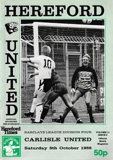 Hereford United V Carlisle United 8-10-88 | by cumbriangroundhopper