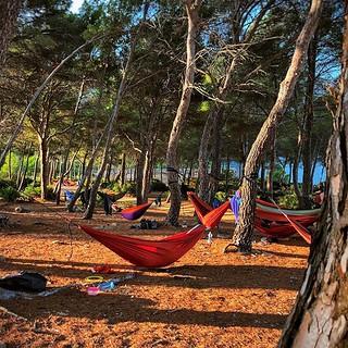 Schlafen unter dem Sternenhimmel. 🌌✨Mit ein paar Pinien dazwischen 😉. #abenteuerlust #hängematte #anotherdayinparadise #teamausflug #mallorca