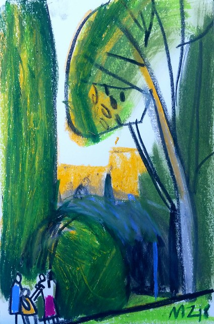 Maria Zaikina, Idyllic evening scene, wax and oil pastels on paper, 2018