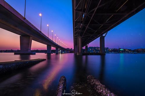 leon sidik fujifilm sunset iron cove bridge sun blue orange purple 2018 nice filters landscape australia sydney nsw newsouthwales water reflection