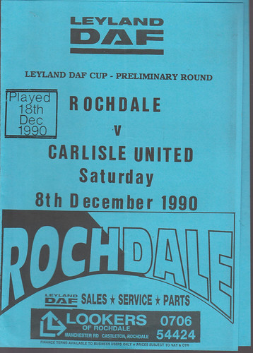 Rochdale V Carlisle United 8-12-90 | by cumbriangroundhopper