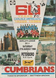 Carlisle United V Peterborough 27-8-88 | by cumbriangroundhopper