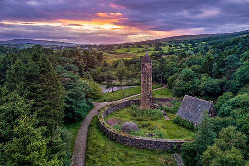 famous landscape view county ireland irish 2018 countryside ulster history sunset sun set park tyrone gortin national trust ni omagh monks round tower medieval huts nature gareth wray photography dji phantom uav 4 p4p four pro drone quadcopter aerial nikon landmark tourist tourism location visit sight site summer old museum northern day photographer vacation holiday europe outdoor sky wild ruin abandoned derelict castle house way hill mountainside forest wood trees tree