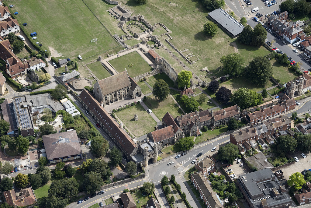 St Augustine's Abbey & St Pancras Church in Canterbury - Kent uk aerial image