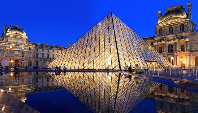 Musée du Louvre in the early evening