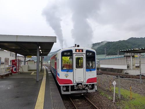 三陸鉄道の釜石駅からが見やすいが、こんな感じで大抵いつも煙が立っている