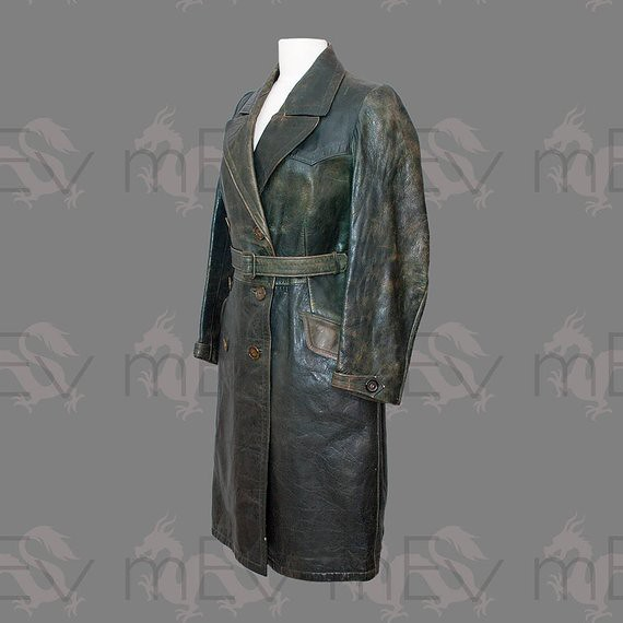 fae343d46f7 Ladies 1940s Green Leather Motoring Trench Coat | Stephen Egglestone ...