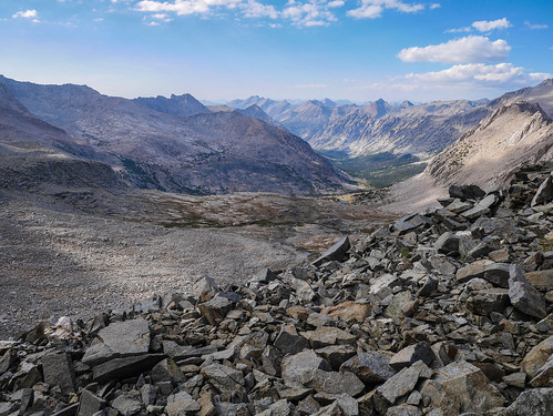 Looking down into the basin below Forester from the Junction Pass trail   by snackronym