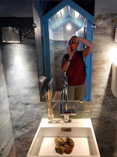 Sink, mirror and selfie in the De2Have Cafe in Skagen, Denmark
