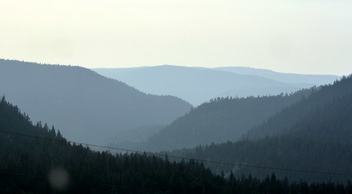 SMOKE IN THE VALLEY OF THE NORTH CASCADE MOUNTAINS.  THERE ARE OVER 500 FOREST FIRES IN OUR PROVINCE.