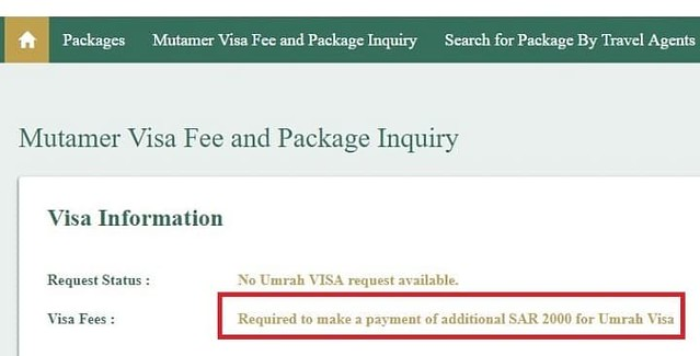 How to check Umrah Visa fee of SAR 2,000? - Life in Saudi Arabia