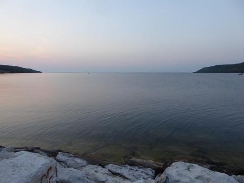 bay water northchannel breakwall breakwater gorebay marina manitoulin island ontario evening twilight sunset summer lake huron