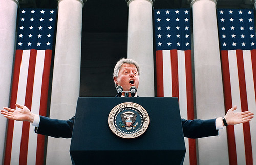 Bill Clinton talks to a large crowd in West Virgina 1993