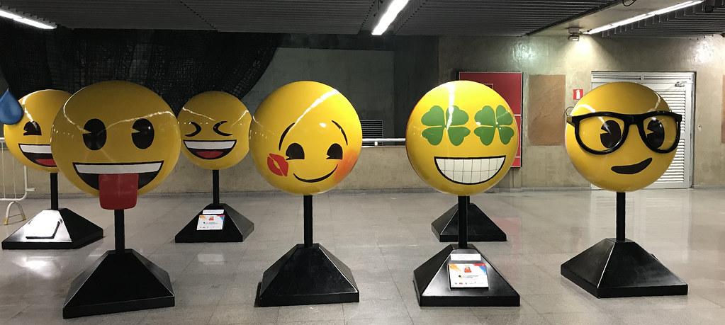 Emoji esculptures, República Subway Station, São Paulo, Brazil.