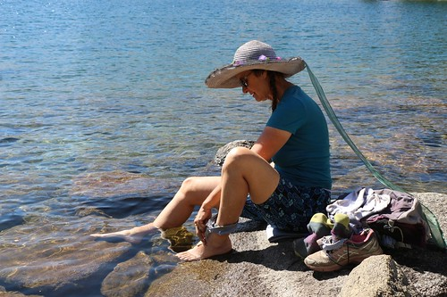 1981 Vicki cooling her hot feet in Fontanillis Lake on the Pacific Crest Trail - I did it too!   by _JFR_