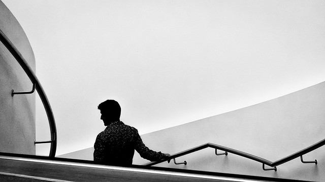 Man on a staircase.