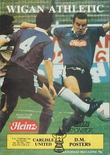 Wigan Athletic V Carlisle United 9-12-89 | by cumbriangroundhopper