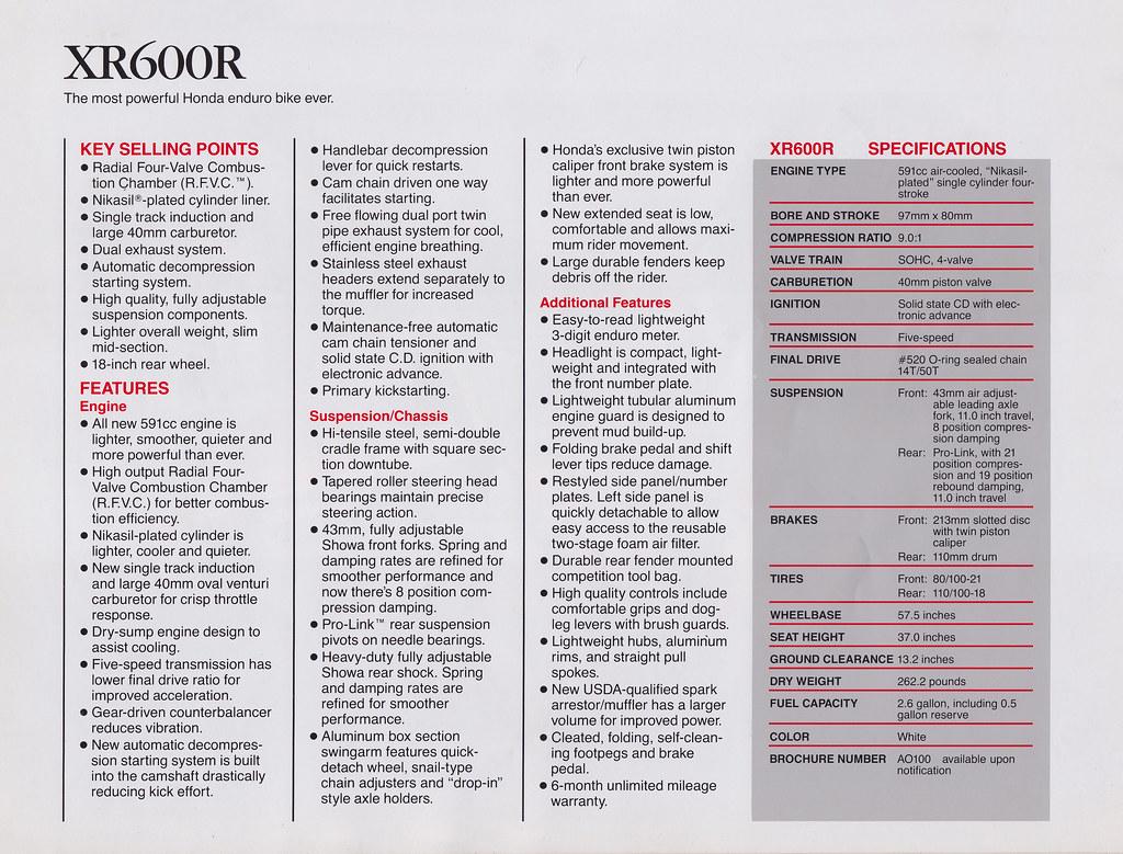 1988 Honda XR600R Brochure Page 2 | Tony Blazier | Flickr