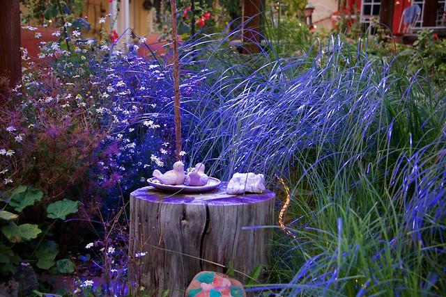 Fanciful Purple Garden at Twilight