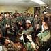 Tech. Sgt. Tony Tesori, right, weather forecaster, Detachment 6, 17th Weather Squadron, Hill Air Force Base, Utah, briefs aircrews on local and Iraqi weather conditions during Operation Desert Storm. (U.S. Air Force photo)