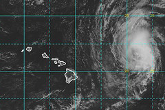 A satellite image of Tropical Storm Olivia at 2 p.m., Hawaii Standard Time, Sept. 10, when the storm was approximately 500 miles east of Honolulu and moving west at 10 mph with maximum sustained winds of 70 mph. (NOAA National Weather Service)